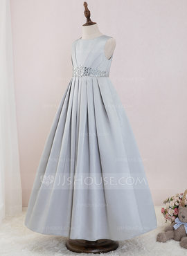 Ball-Gown/Princess Ankle-length Flower Girl Dress - Satin Sleeveless Scoop Neck With Beading (010195343)