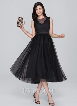 A-Line/Princess Scoop Neck Tea-Length Tulle Homecoming Dress (022124871)
