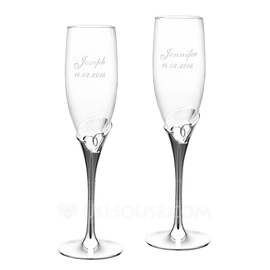 Personalized Heart Cut-out Crystal Toasting Flutes (Set of 2) (118053071)