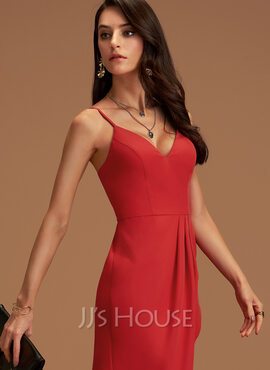 V-Neck Red Stretch Crepe Dresses (293250207)