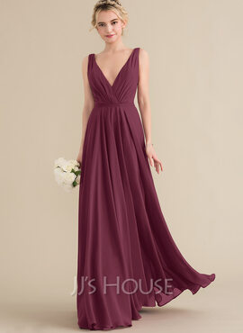 A-Line V-neck Floor-Length Chiffon Prom Dresses With Ruffle (018157157)