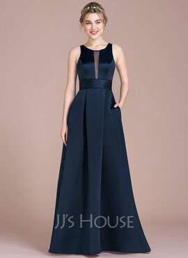 A-Line Scoop Neck Floor-Length Satin Prom Dresses With Pockets (018112638)