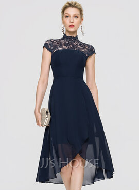 A-Line High Neck Asymmetrical Chiffon Cocktail Dress (016197093)