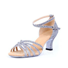 Women's Sparkling Glitter Heels Sandals Latin With Ankle Strap Dance Shoes (053056419)
