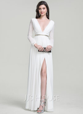 A-Line/Princess V-neck Floor-Length Chiffon Evening Dress With Beading Split Front (017105883)