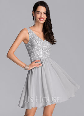 A-Line V-neck Short/Mini Chiffon Homecoming Dress With Sequins (022206548)