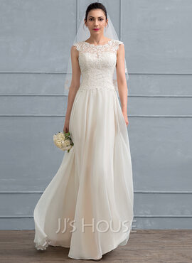 A-Line Floor-Length Chiffon Wedding Dress With Beading Sequins (002117036)
