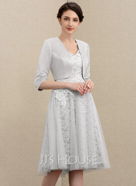 A-Line V-neck Knee-Length Tulle Lace Mother of the Bride Dress (008195368)