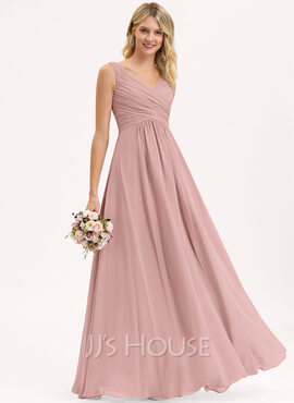 A-Line V-neck Floor-Length Chiffon Evening Dress With Ruffle (017237012)