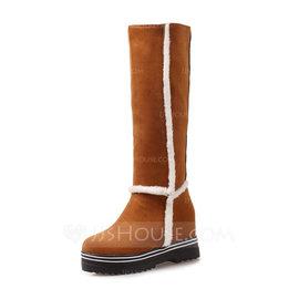 Femmes Suède Talon plat Bottes avec Autres chaussures