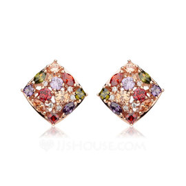 Colourful Copper/Zircon/Rose Gold Plated Ladies' Earrings (011052463)