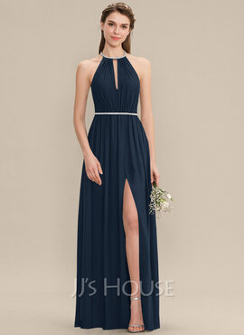 A-Line Scoop Neck Floor-Length Chiffon Bridesmaid Dress With Ruffle Beading Split Front (007176758)
