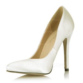 Satin Stiletto Heel Pumps Closed Toe shoes (085053024)