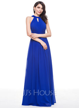A-Line/Princess Scoop Neck Floor-Length Chiffon Bridesmaid Dress With Ruffle (007051137)