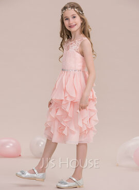 A-Line/Princess Scoop Neck Knee-Length Chiffon Junior Bridesmaid Dress With Beading Sequins Cascading Ruffles (268183941)