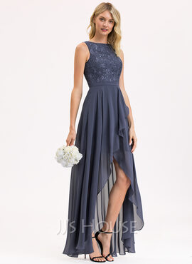 A-Line Scoop Neck Asymmetrical Chiffon Lace Bridesmaid Dress With Sequins Cascading Ruffles (007206493)
