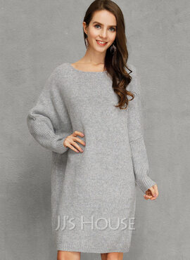 Polyester With Knitting/Solid Knee Length Dress (199222864)