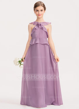 A-Line Scoop Neck Floor-Length Chiffon Junior Bridesmaid Dress With Cascading Ruffles (009191704)