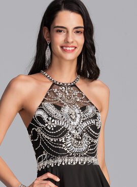 A-Line Scoop Neck Short/Mini Chiffon Homecoming Dress With Beading Sequins (022206546)