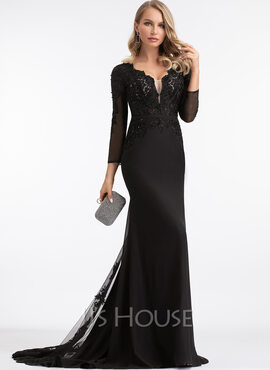 Trumpet/Mermaid V-neck Sweep Train Chiffon Prom Dresses With Beading (018221180)