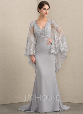 Trumpet/Mermaid V-neck Sweep Train Chiffon Lace Mother of the Bride Dress With Beading Sequins (008164056)