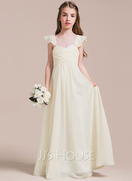 A-Line Sweetheart Floor-Length Chiffon Junior Bridesmaid Dress With Ruffle (009087911)