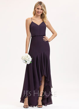Trumpet/Mermaid V-neck Asymmetrical Chiffon Bridesmaid Dress With Cascading Ruffles (007206489)