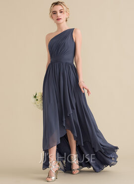 A-Line One-Shoulder Asymmetrical Chiffon Evening Dress With Cascading Ruffles (017164903)