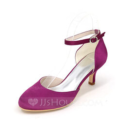 Women's Satin Stiletto Heel Closed Toe Pumps With Buckle (047096601)