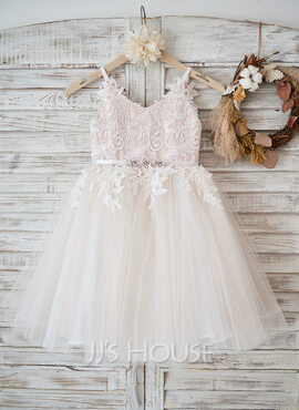 A-Line Knee-length Flower Girl Dress - Tulle/Lace Sleeveless Straps With Rhinestone