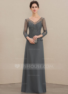 A-Line V-neck Floor-Length Chiffon Lace Mother of the Bride Dress With Beading Sequins (008179190)
