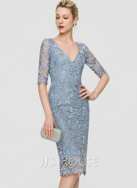 Sheath/Column V-neck Knee-Length Lace Cocktail Dress (016197095)