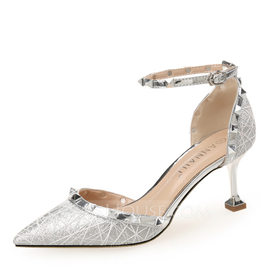 Women's Sparkling Glitter Stiletto Heel Closed Toe Pumps With Lace-up (047199858)