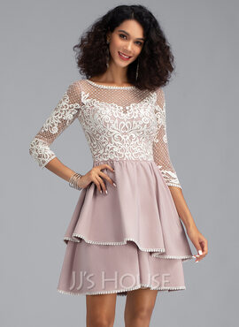 A-Line Scoop Neck Short/Mini Stretch Crepe Homecoming Dress With Cascading Ruffles (022203118)