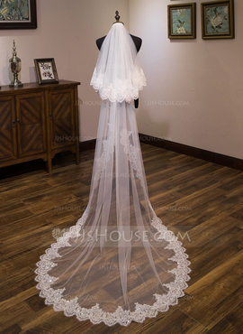 Two-tier Lace Applique Edge Cathedral Bridal Veils With Lace (006183285)