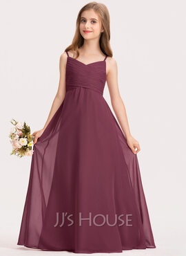 A-Line Sweetheart Floor-Length Chiffon Junior Bridesmaid Dress With Ruffle (009191723)