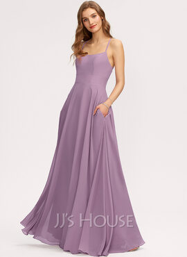 A-Line Scoop Neck Floor-Length Chiffon Bridesmaid Dress With Pockets (007221222)