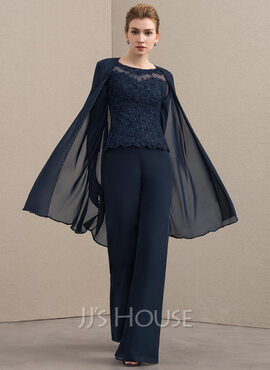 A-Line Scoop Neck Floor-Length Chiffon Lace Mother of the Bride Dress With Beading (008152138)