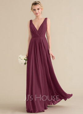A-Line V-neck Floor-Length Chiffon Evening Dress With Ruffle (017237013)