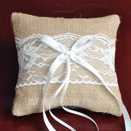 Classic Ring Pillow in Lace/Linen/Polyester With Bow (103190787)