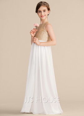 A-Line Scoop Neck Floor-Length Chiffon Sequined Junior Bridesmaid Dress (009165015)