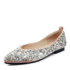 Women's Leatherette Flat Heel Flats With Sequin (047187864)