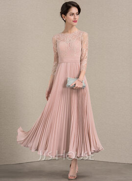 A-Line/Princess Scoop Neck Ankle-Length Chiffon Lace Cocktail Dress With Pleated (016174119)