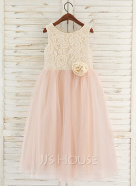 A-Line Tea-length Flower Girl Dress - Tulle/Lace Sleeveless Scoop Neck With Flower(s) (010172351)