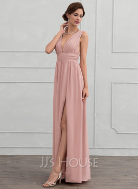 A-Line V-neck Floor-Length Chiffon Evening Dress With Ruffle (017116322)