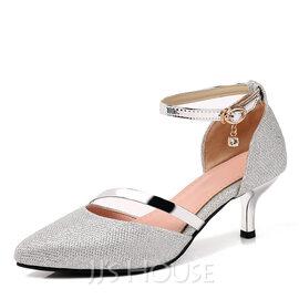 Women's Leatherette Stiletto Heel Pumps With Sequin (047187868)