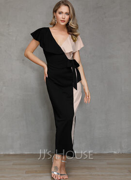 Polyester With Color-block Maxi Dress (199228975)