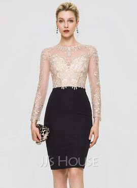 Sheath/Column Scoop Neck Knee-Length Stretch Crepe Cocktail Dress With Sequins (016197118)