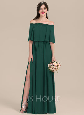 A-Line Off-the-Shoulder Floor-Length Chiffon Bridesmaid Dress With Split Front (007126431)
