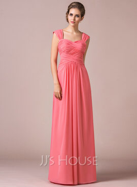 A-Line/Princess Sweetheart Floor-Length Chiffon Bridesmaid Dress With Ruffle (007056817)